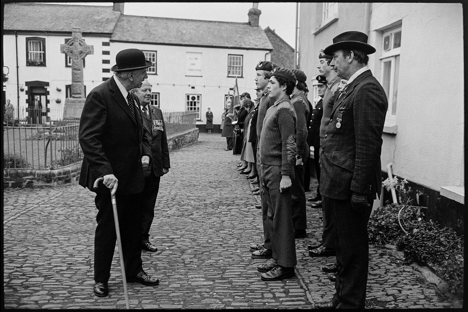 Armistice Day, inspection and parade to church.  Chulmleigh, November 1981.