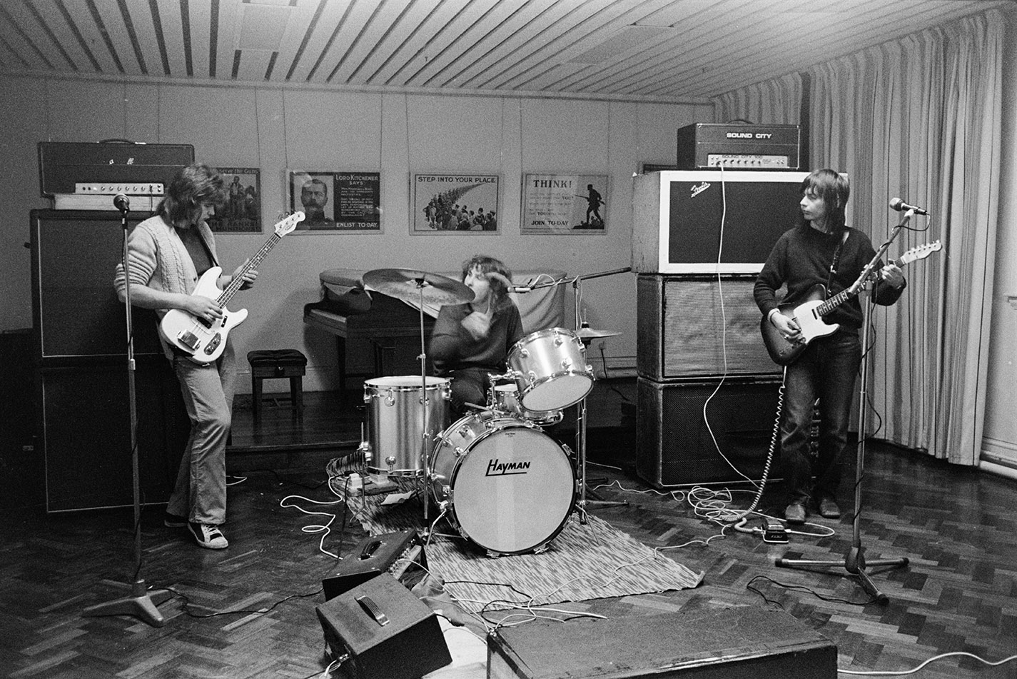 Band practising in hall. Documentary photograph by Roger Deakins for the Beaford Archive © Beaford Arts