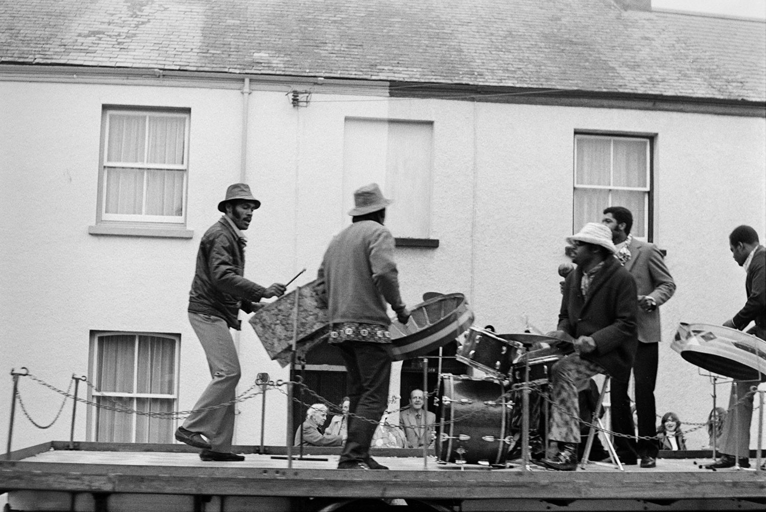 Musicians, carnival. Documentary photograph by Roger Deakins for the Beaford Archive © Beaford Arts