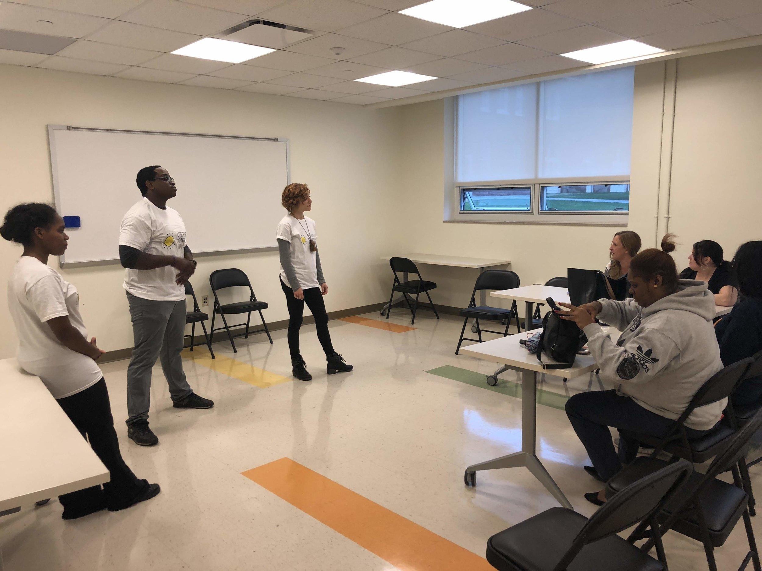 CCT staff Kiersten Adams, Eric Walker and facilitator Leah Holleran lead a workshop for the Drexel School of Medicine cohort, West Philadelphia Skills Initiative
