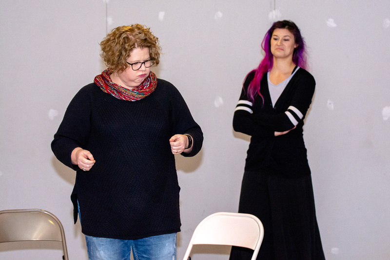 Suzanne Anderson and Kaitlin Chin in an improv scene at Bright Invention rehearsal