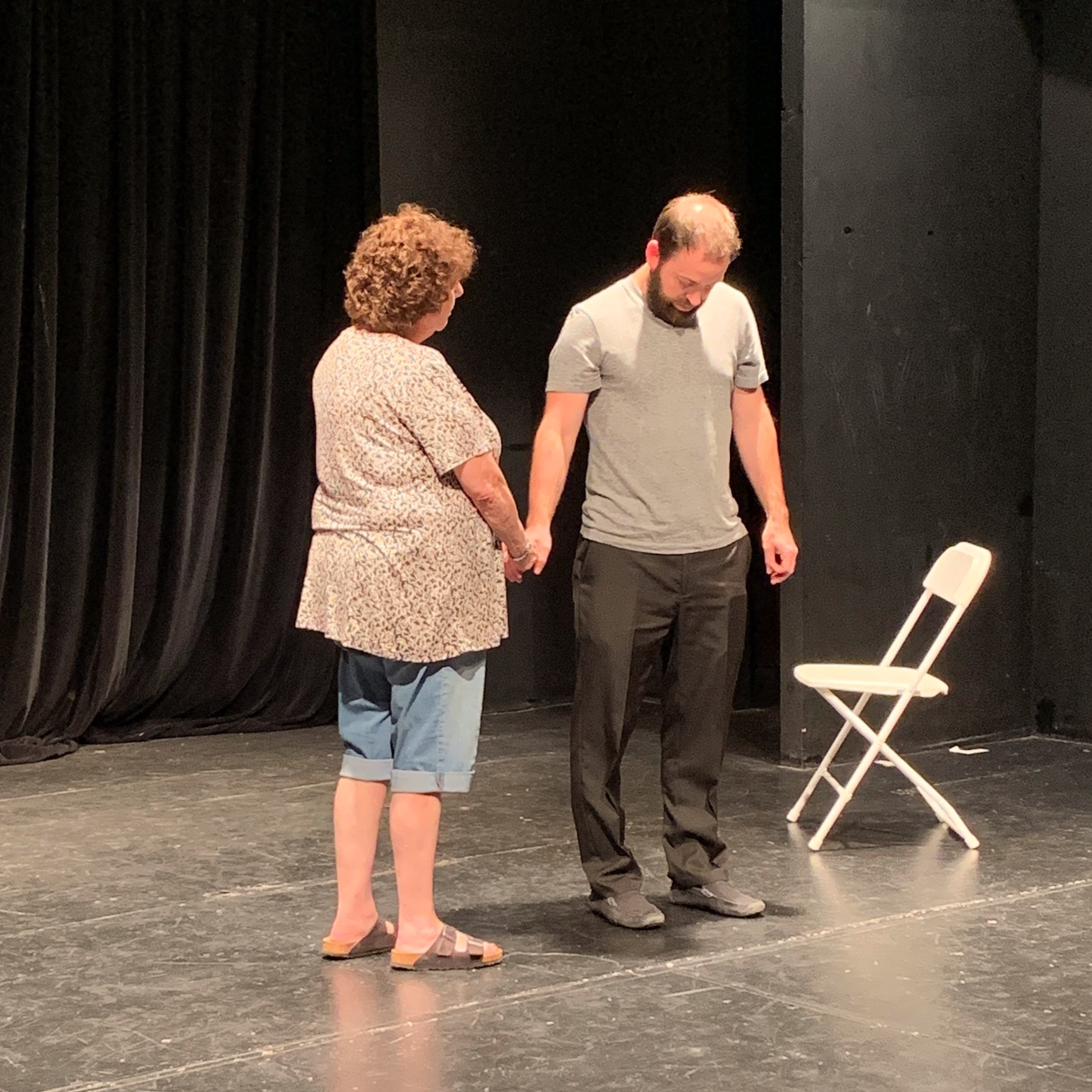 Two of my adult improv students in class last week . . .