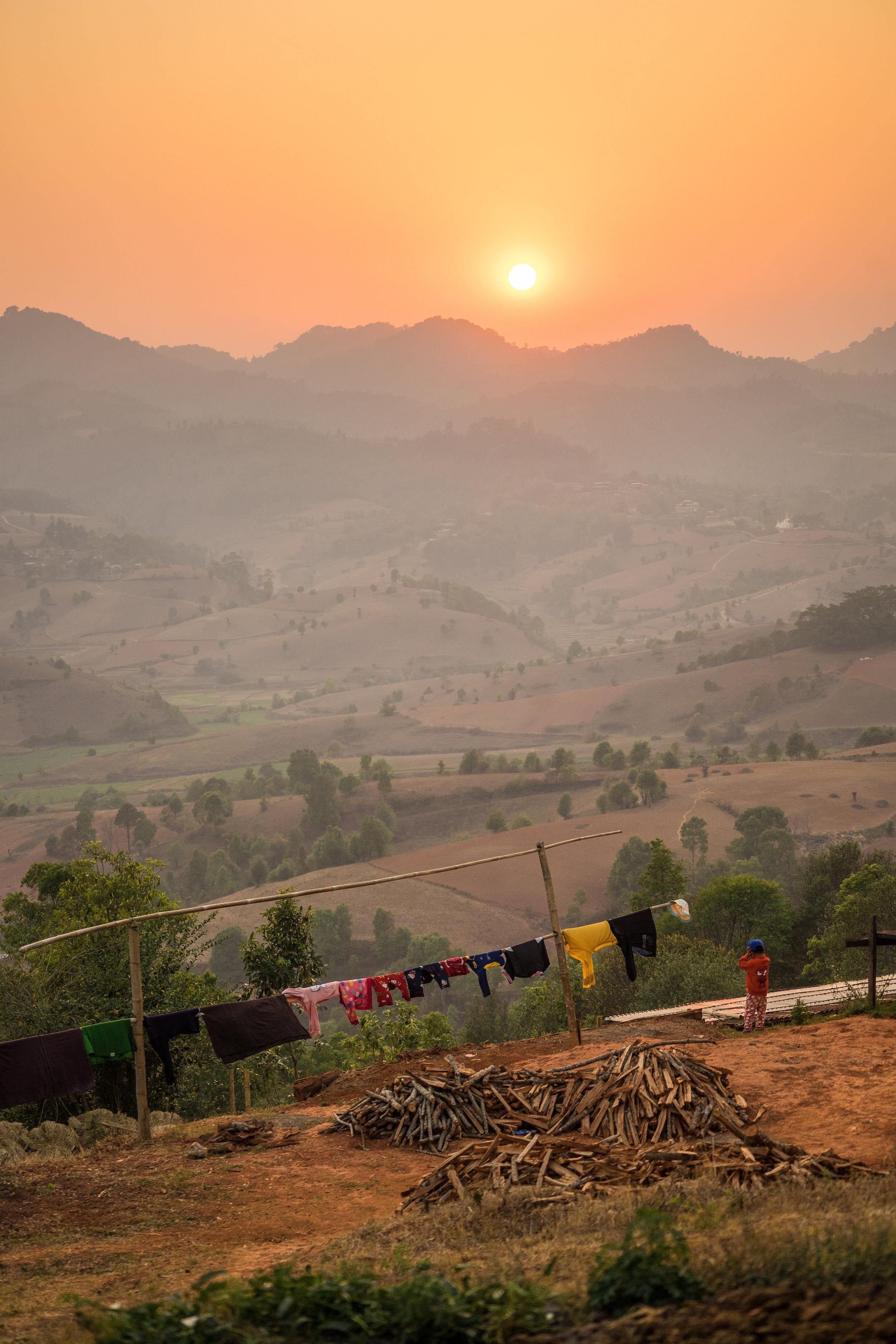 Sunset -  Ywar Pu Village.