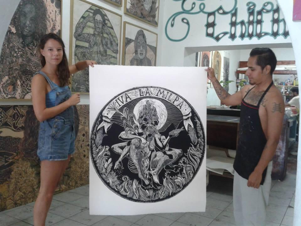 Viva La Milpa, 2015  Woodcut