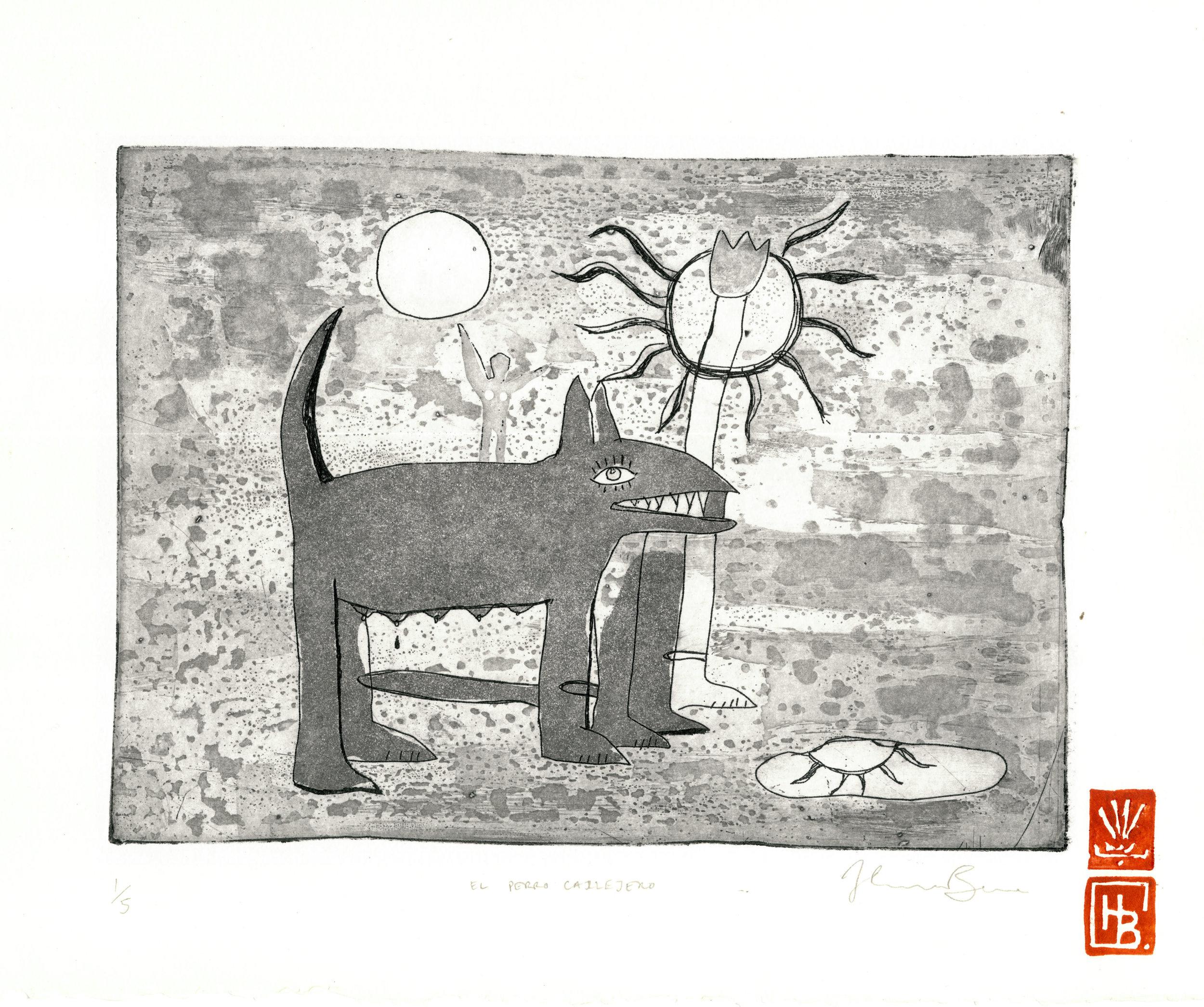 El Perro Callejero, 2015  Aquatint etching