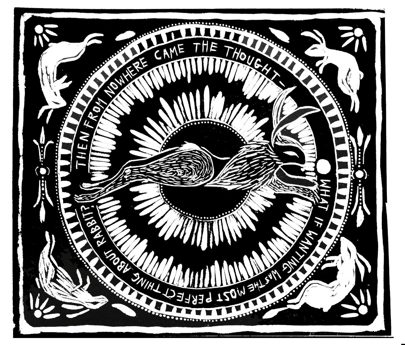 Rabbit, 2016  Woodcut illustration of a poem by Olivia Stewart Liberty