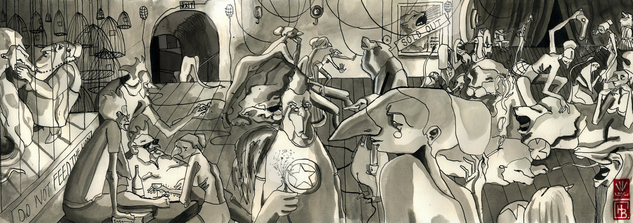 Backstage, 2014  indian ink, character design and set ideas