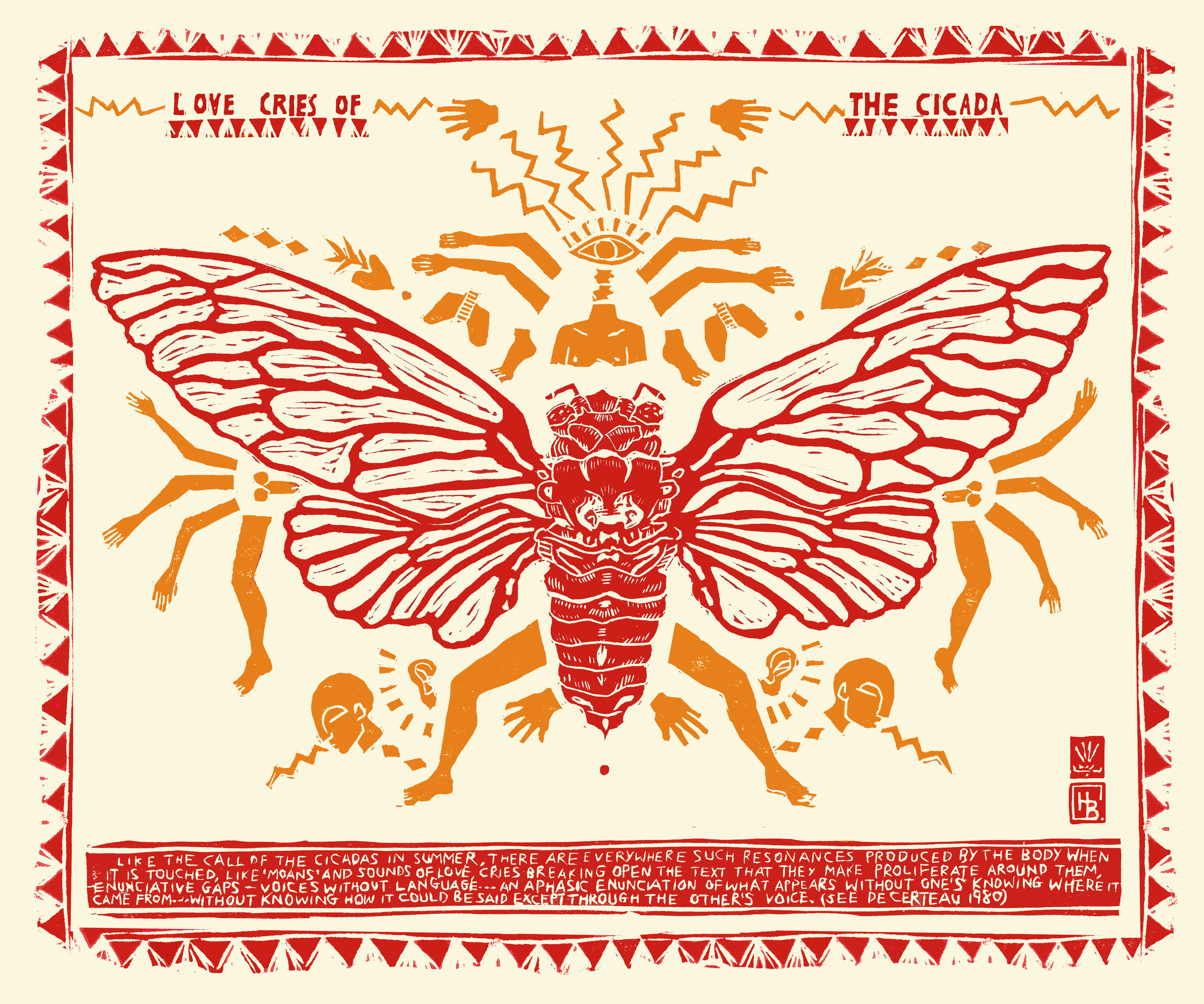 Love Cries of the Cicada, 2019  Lino cut and stamp print and digital manipulation