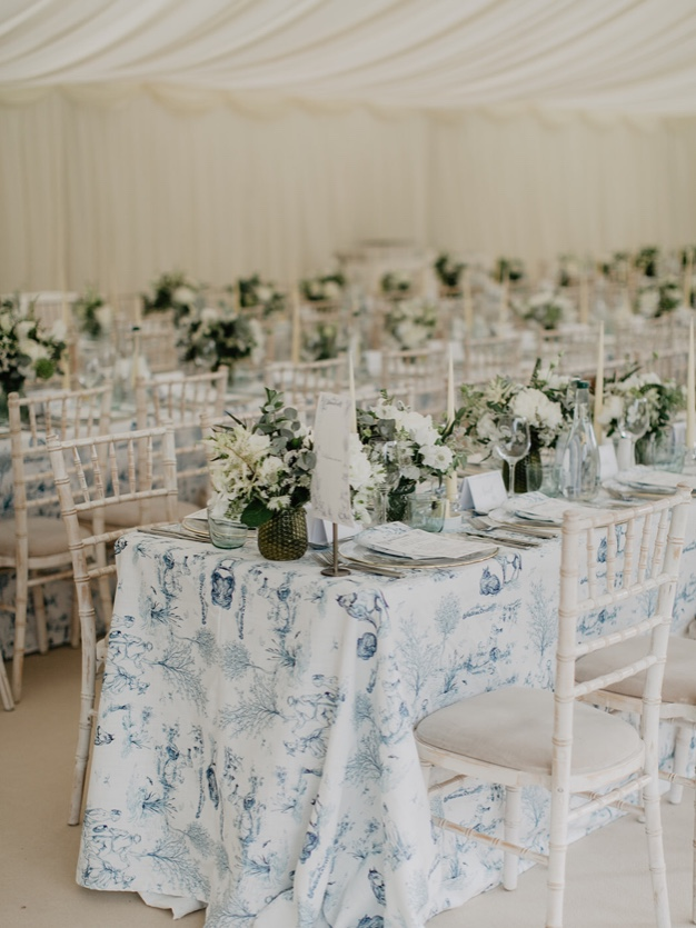 I designed a bespoke Toile de Jouy for the Dunne Family, Ireland for the marriage of Ben and Avril, June 2019