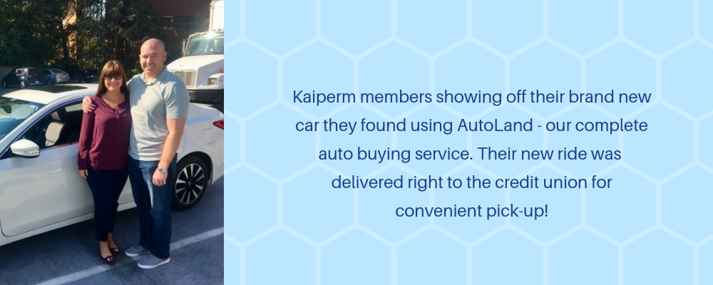 Kaiperm members showing off their brand new car they found using auto land, our complete auto buying service. Their new ride was delivered right to the credit union for convenient pickup.