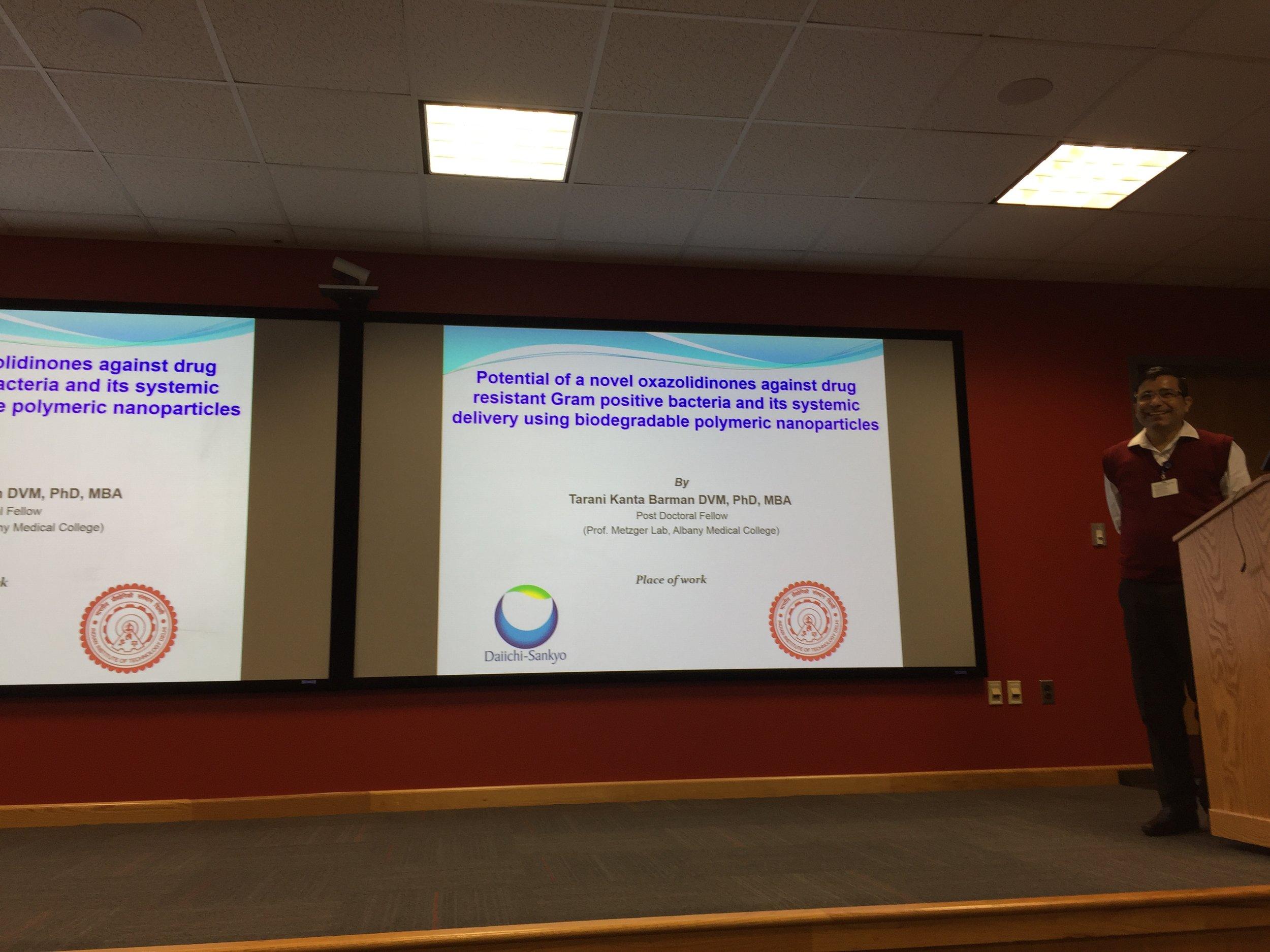Tarani Kanta Barman, PhD shared the work he did in his PhD characterizing a novel antibiotic.