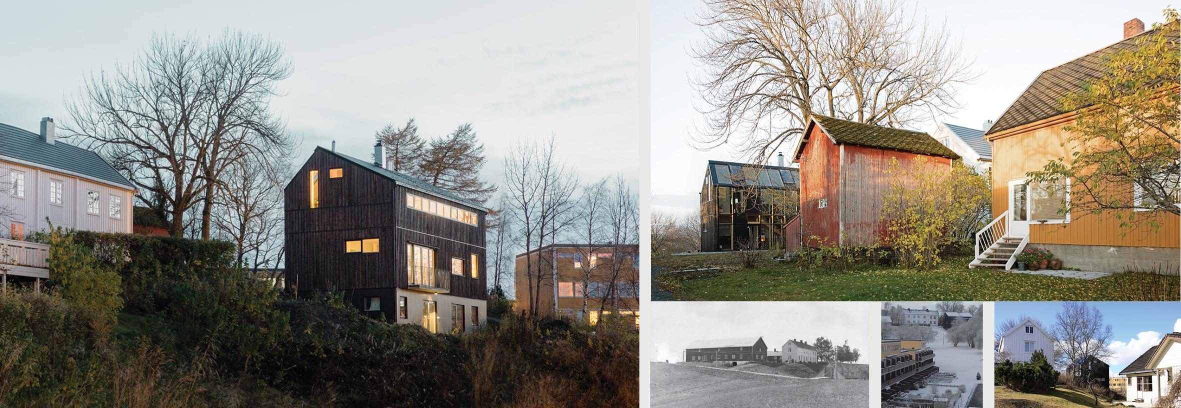 Nabo-bebyggelsen i dag, og gården sett fra øst i 1930-årene (svart-hvitt foto) .