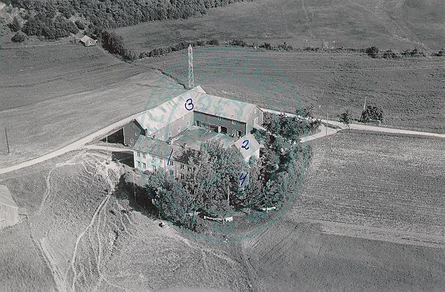 Flyfoto av Blakli gård, fra nordvest, juli 1952