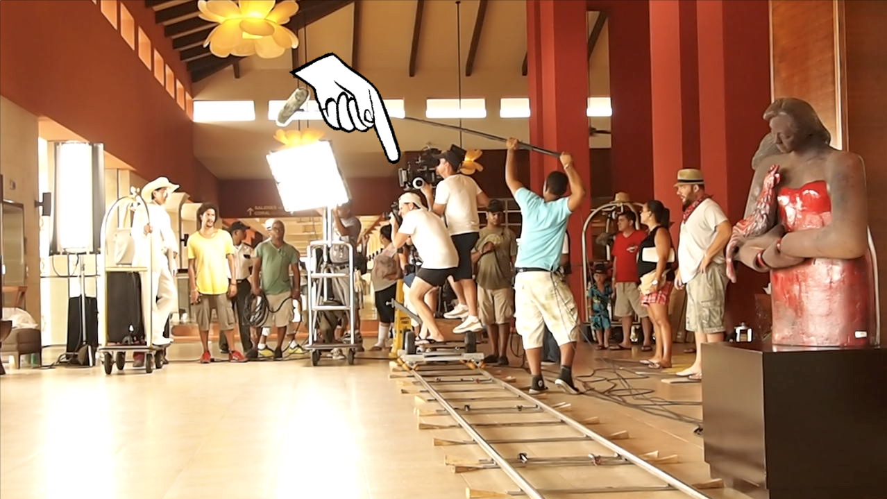 Balancing on a dolly taking stills during filming of a tv commercial
