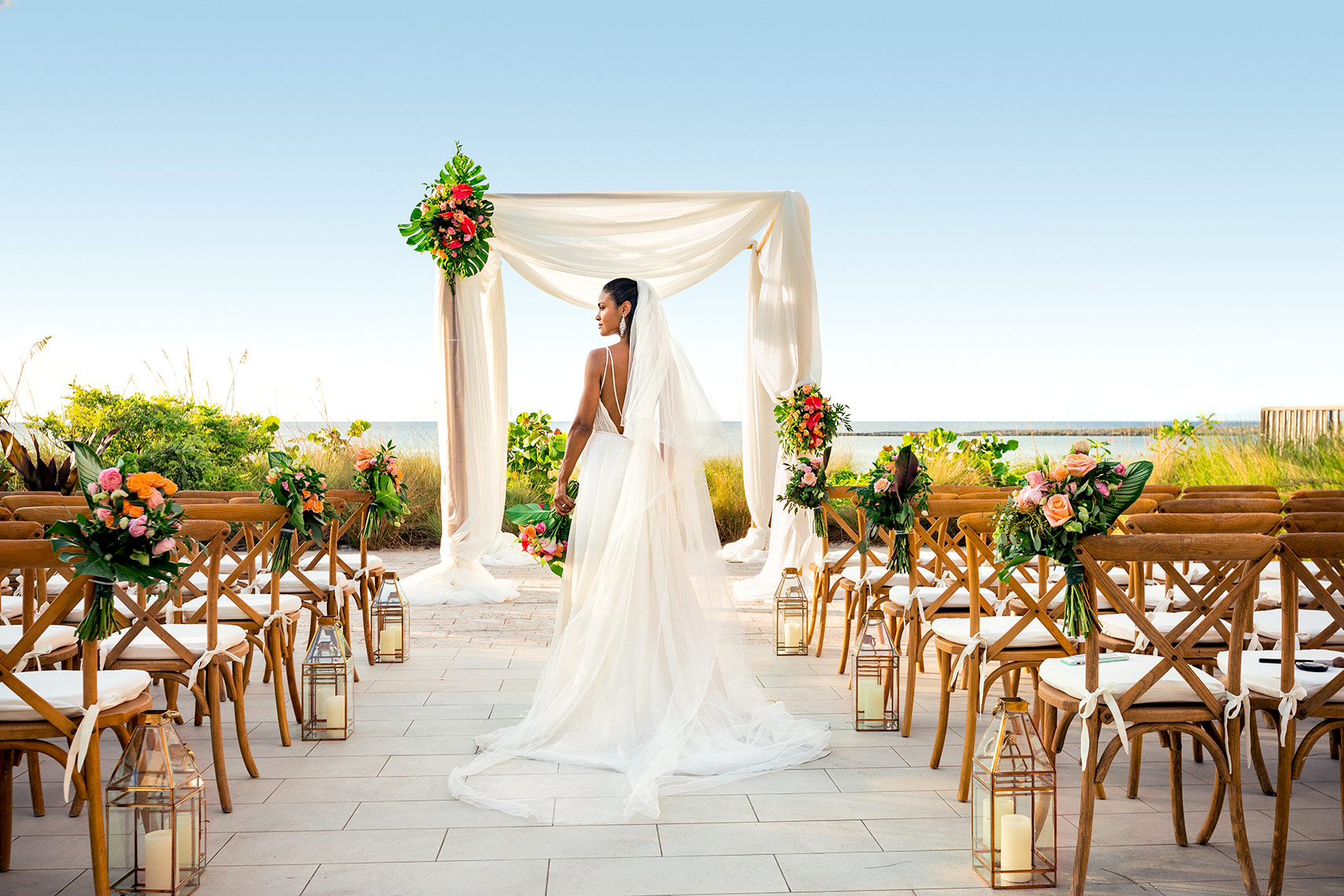 Miami Beach Wedding Photography Advertising: Bride walking down the aisle.
