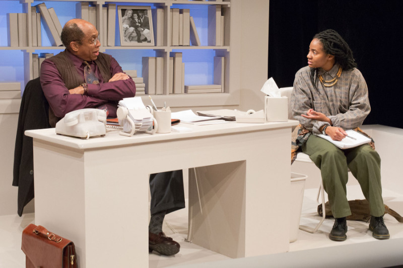 "Johnnie Hobbs Jr. and Jessica Johnson in David Mamet's ""Oleanna"". Photo Credit: Mark Garvin"