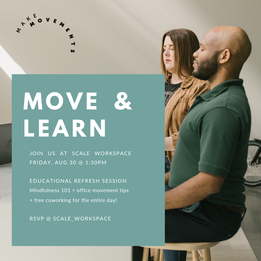 - Looking for a fun way to make Friday even more fantastic?Join us on August 30, 2019 @ 1:30pm for an educational refresh session in New Orleans' coolest new co-working space, Scale.We will offer education, data, and facts on mindfulness, (think mindfulness 101), plus workplace movements and stretch tips.Healthy snacks offered after the session, plus Scale is open all day Friday for free co-working!RSVP @ Scale_Workspace