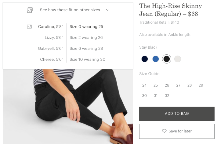 Everlane best in class ecommerce clothing fit