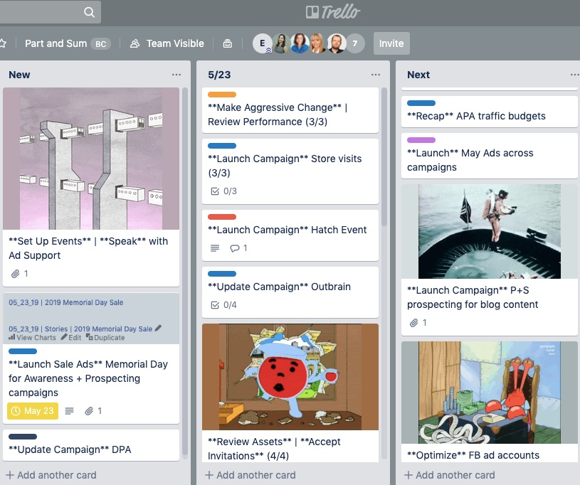 Elliott's Trello Board. He tried using Gifs to mark different clients, but has now reverted to emojis.