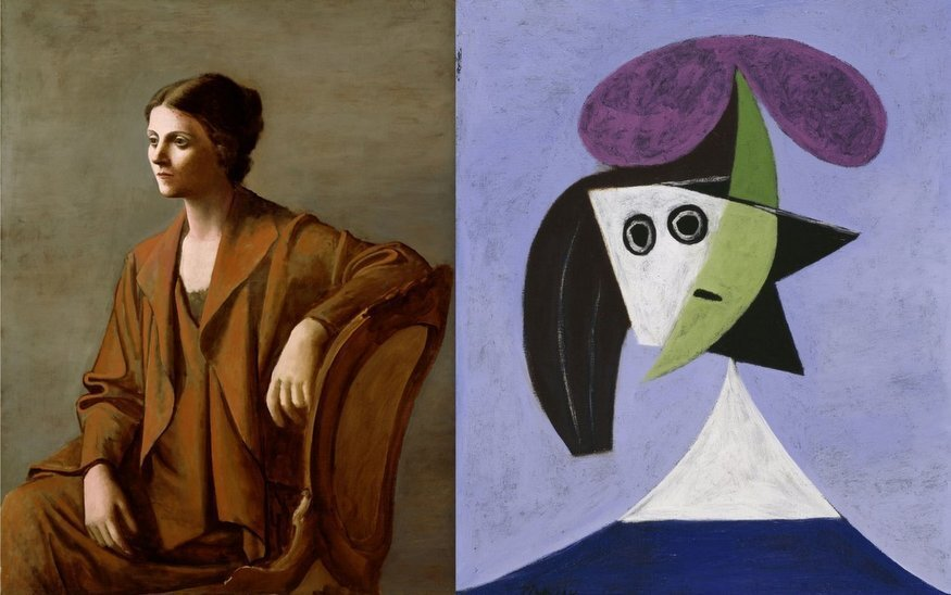 "(Left to Right: ""Portrait of Olga"" Picasso - 1923, ""Woman in a Hat (Olga)"" Picasso - 1935)"