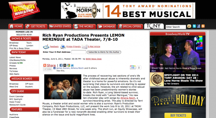 - Creator, James Koroni mentioned on BroadwayWorld.com for production of Lemon Meringue!