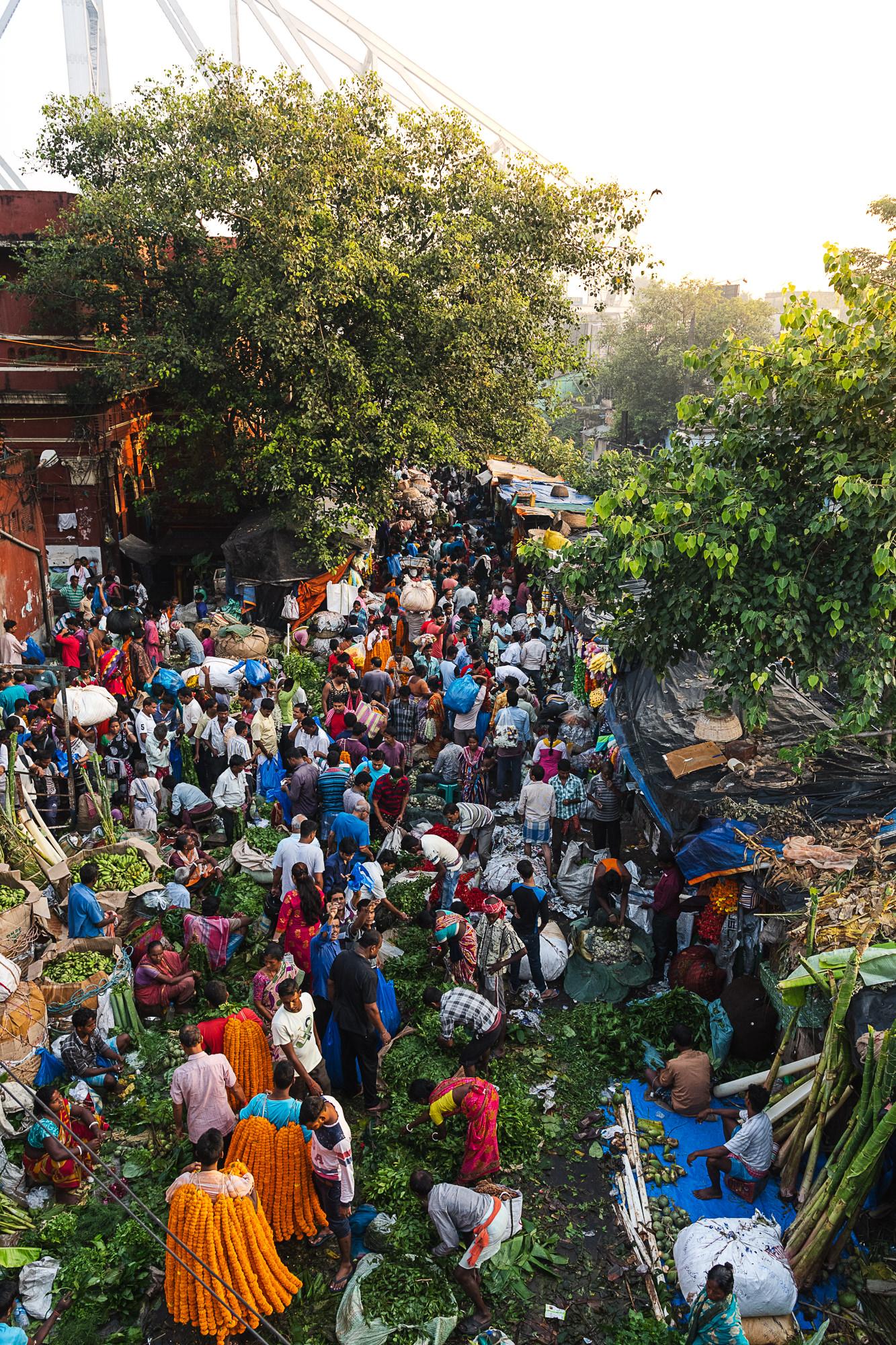 Mallik Ghat Flower Market - top view at full capacity and howrah bridge in background