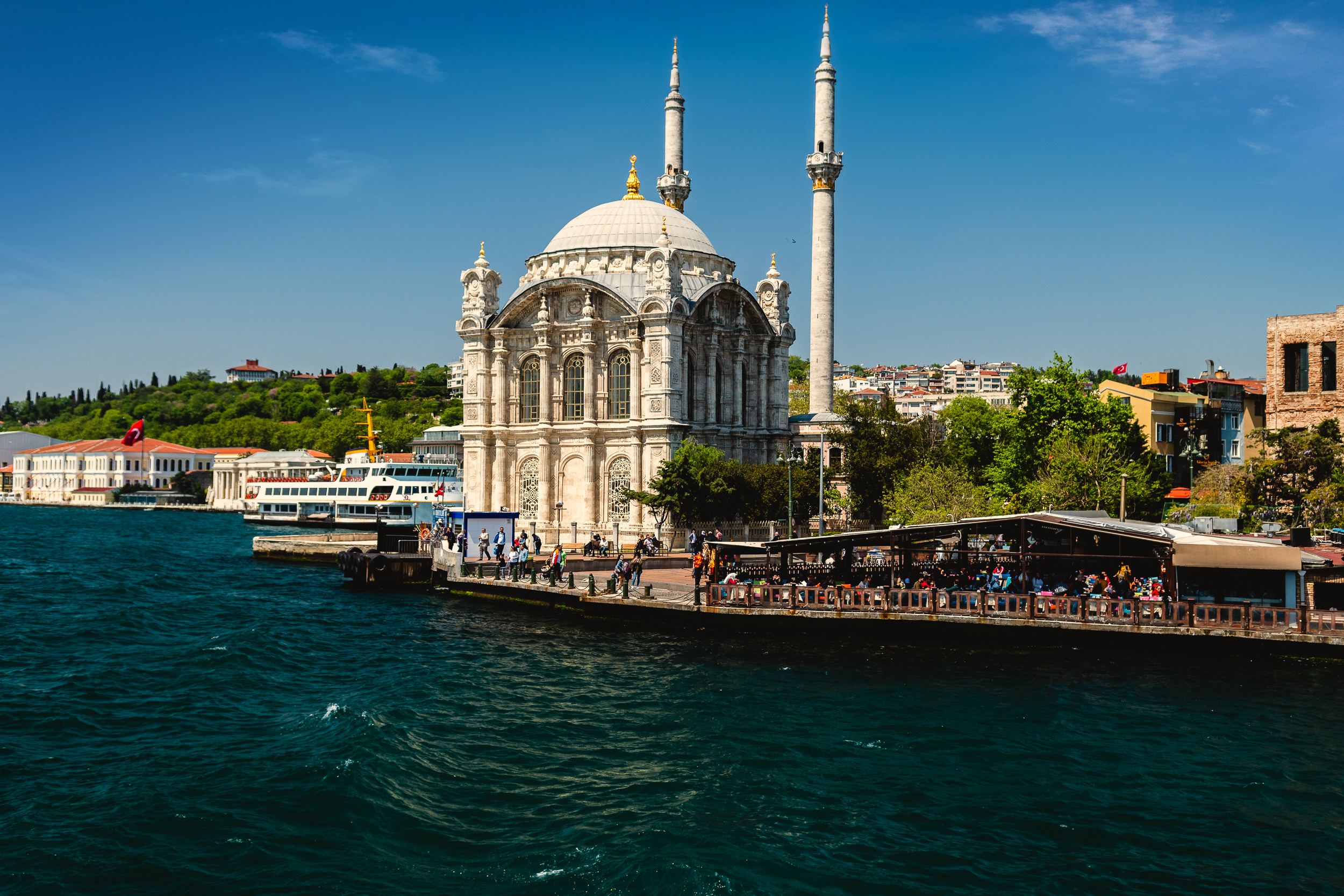 Ortakoy Mosque on the banks of the Bosphorus.