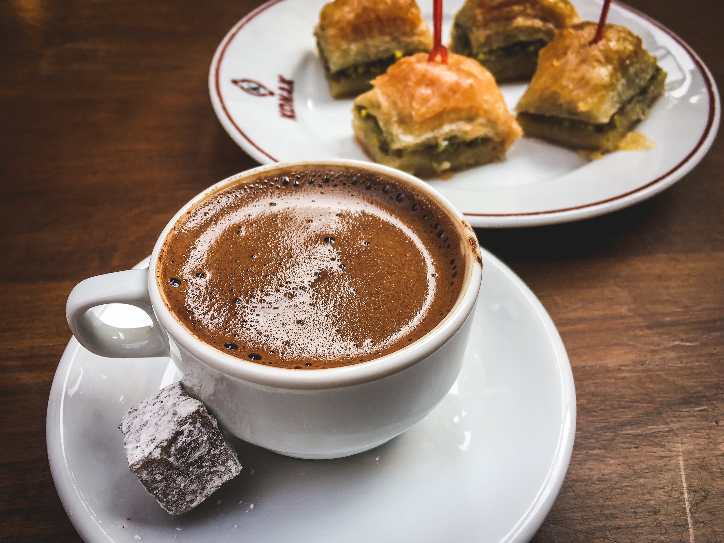 Turkish coffee and Baklava.
