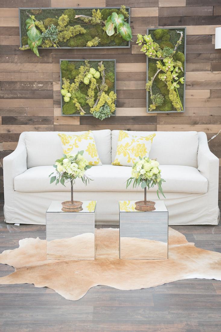 natural botanic green wedding white door events custom barn wood wall romeo linen slip covered sofa green linen