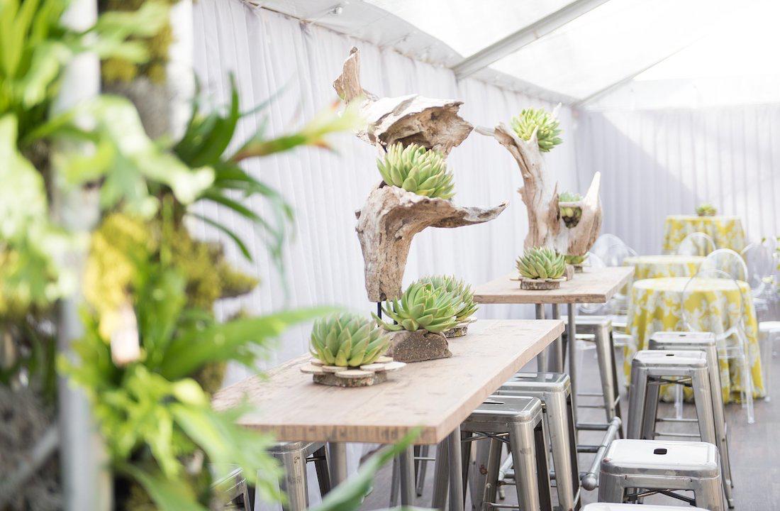 natural botanic green wedding white door events wood high pub table greenery