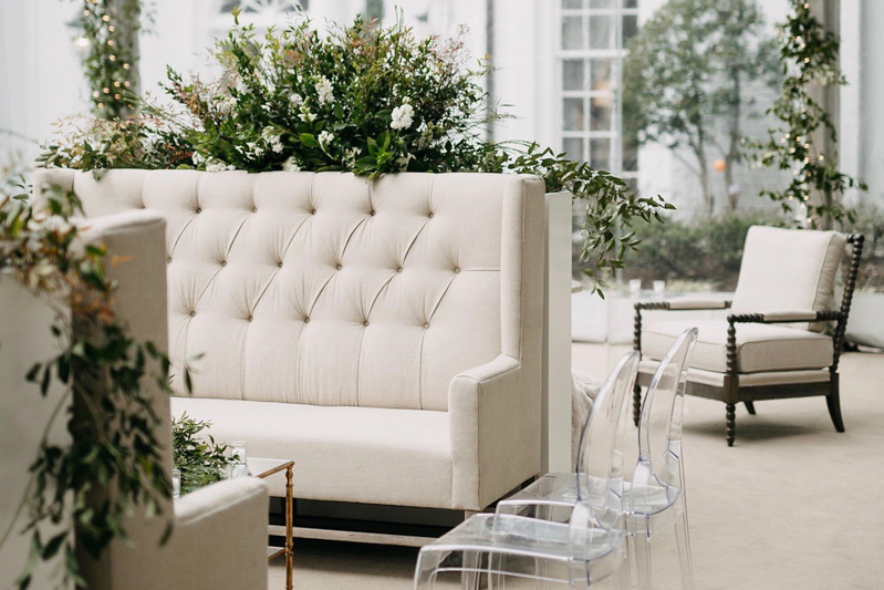 clear ghost chairs, linen banquette, club chair, banquette with tufts