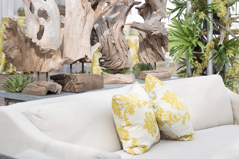 beige sofa, sofa with damask pillows, green pattern pillow, jacquard pillows on sofa