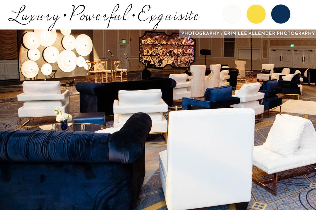 white club chair, velvet blue sofa, white ottoman, white pillows
