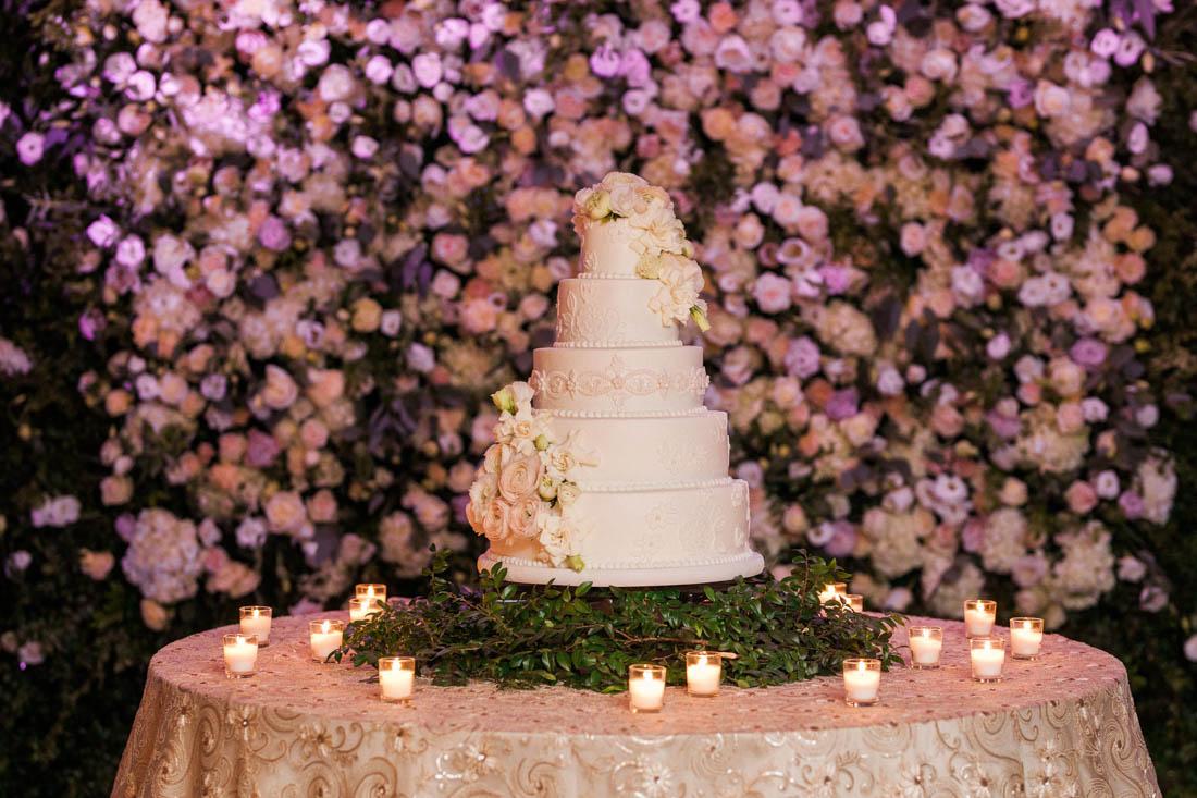 wedding table, cake table, linen for cake, flower wall