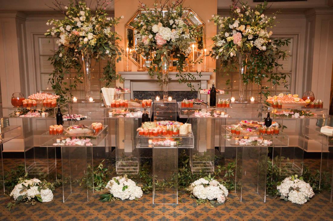 clear table, shadowbox pedestal, clear acrylic, food display table