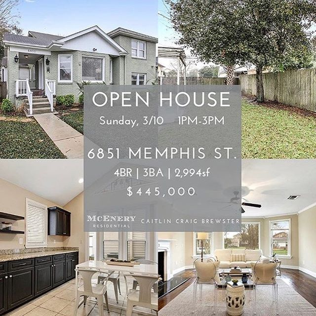 Check out these beautiful open houses today!! 6851 Memphis, Open 1-3, $445k  7117 Prytania, Open 1-3, $749k  1479 Nashville, Open 1-3, $1.250M