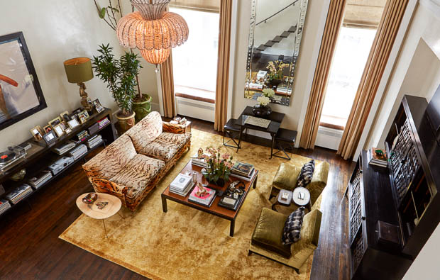 Carole Radziwill recently ruined Lee's beautiful tiger sofa by recovering it in something boring but here it is during its glory days!