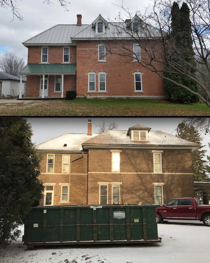 The sister house roofline (top) and Gaye Gardens during kitchen demolition (below).