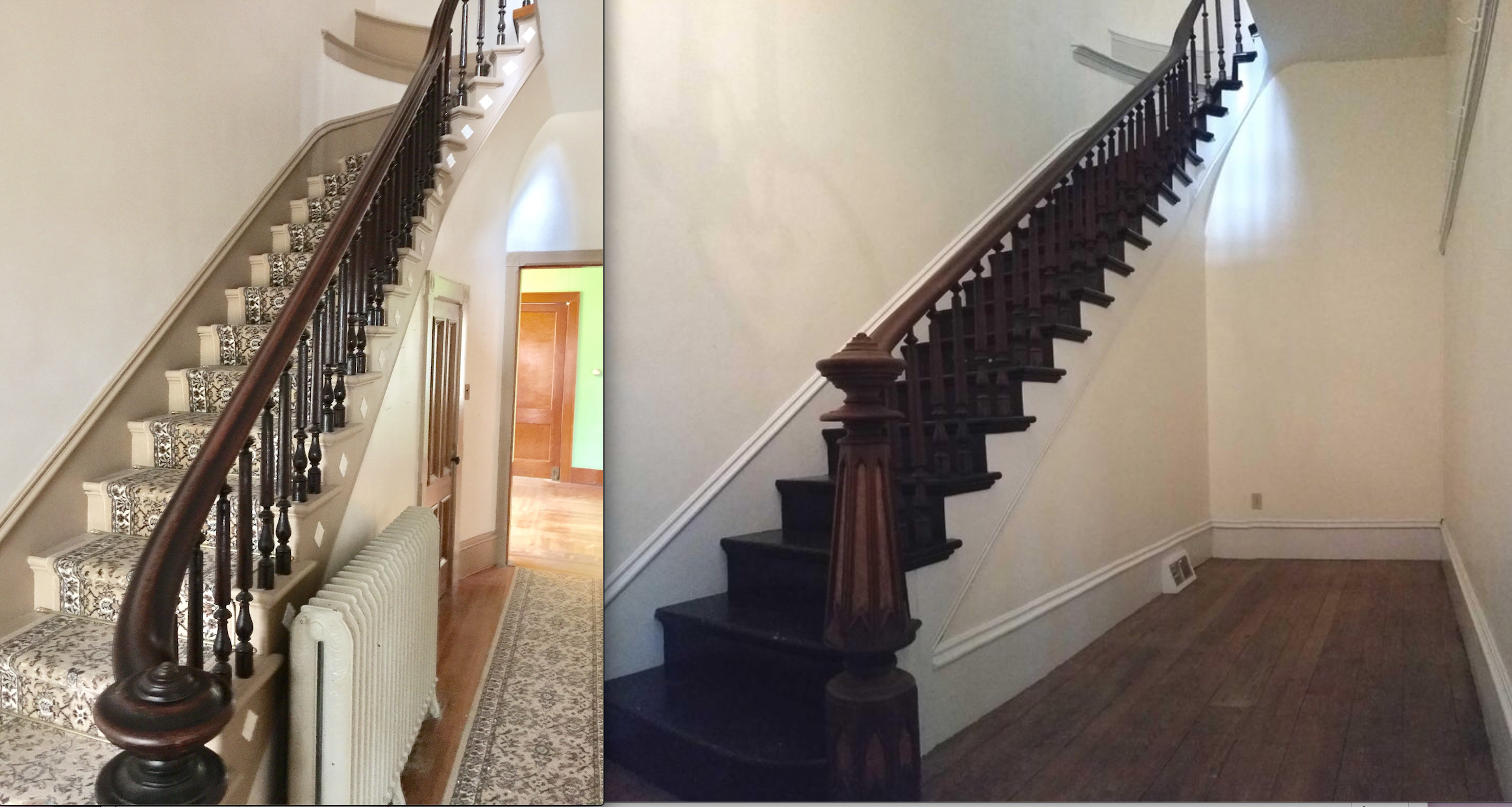 The grand entries—the stairs at Gaye Gardens (left) and the stairs at the sister house. Let's hope the new people rip down that weird divider wall. It's killing the natural light.