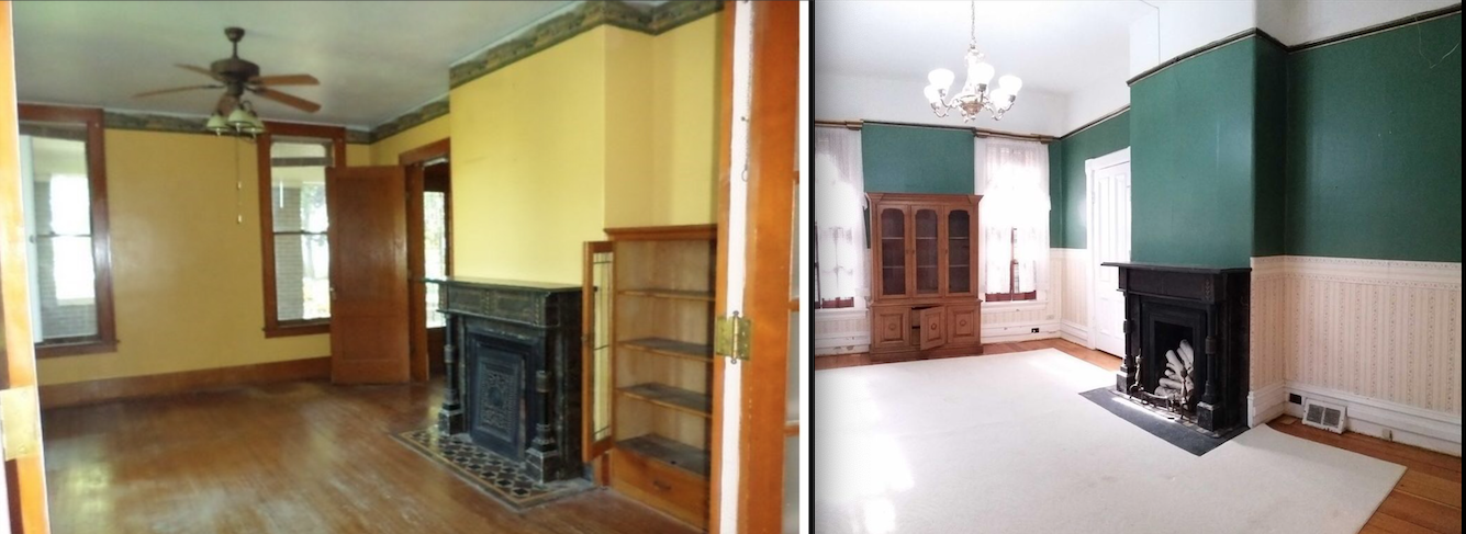 The Norma Costa Parlor at Gaye Gardens (left) and the parlor of the sister house (right) have the same carved marble fireplaces.