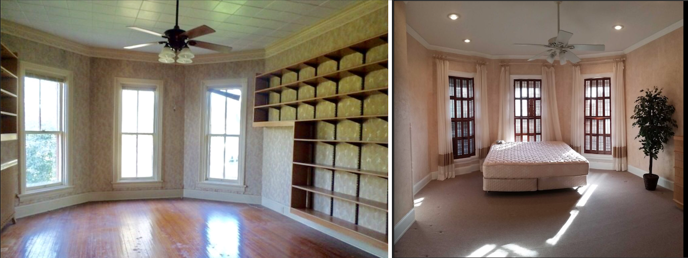 Our master bedroom came with a lot of shelves (right) but looks just like the sister house (right).