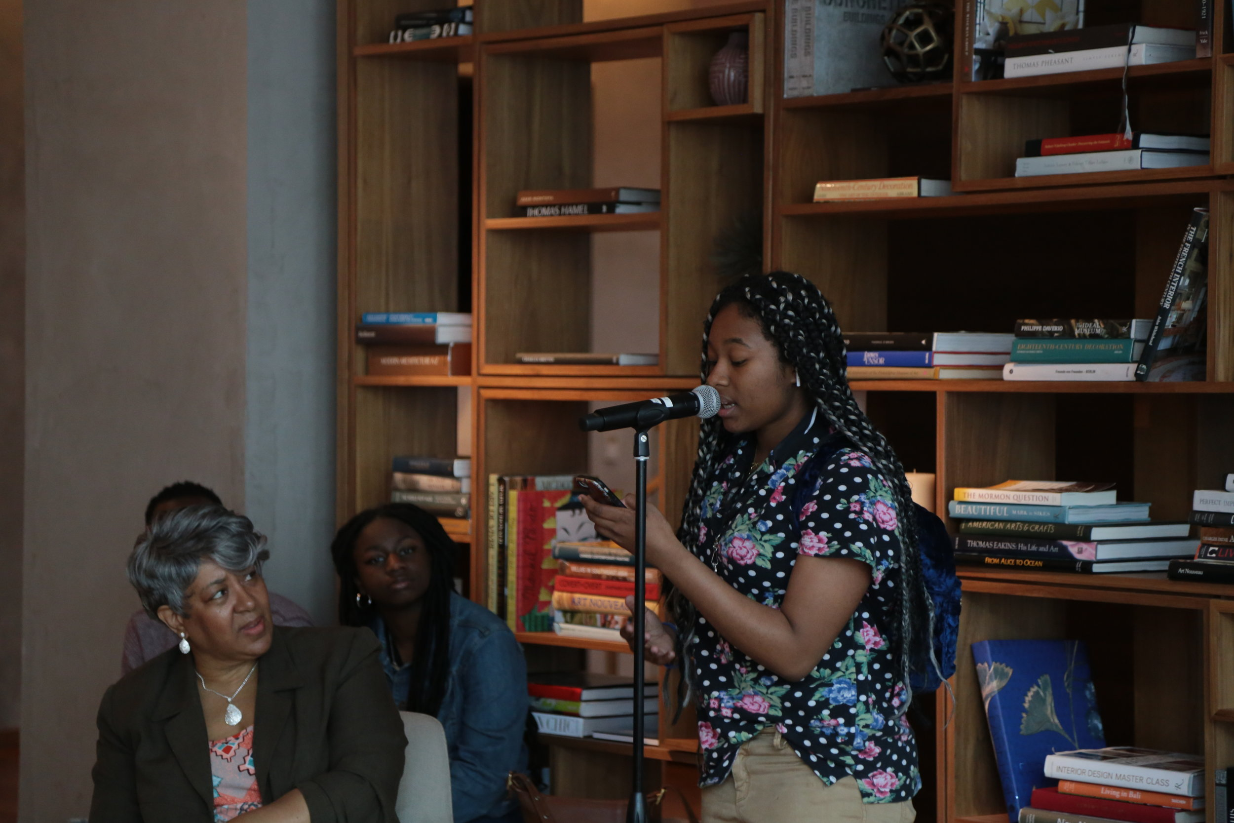"Keyssh Datts, 2018-2019 Canon TRIPOD writer-in-residence and Robeson High School alum, reads her poem ""Meditation on Power"" at The Study, April 2019."