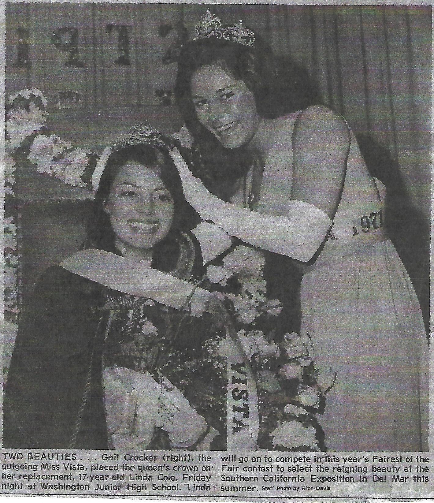 Linda Cole, Miss Vista 1972, and Gail Crocker, Miss Vista 1971