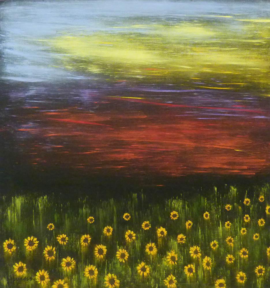 16-24090 Hansen, Julie Sunflower Sunset I 20x21 pastel on paper.jpg