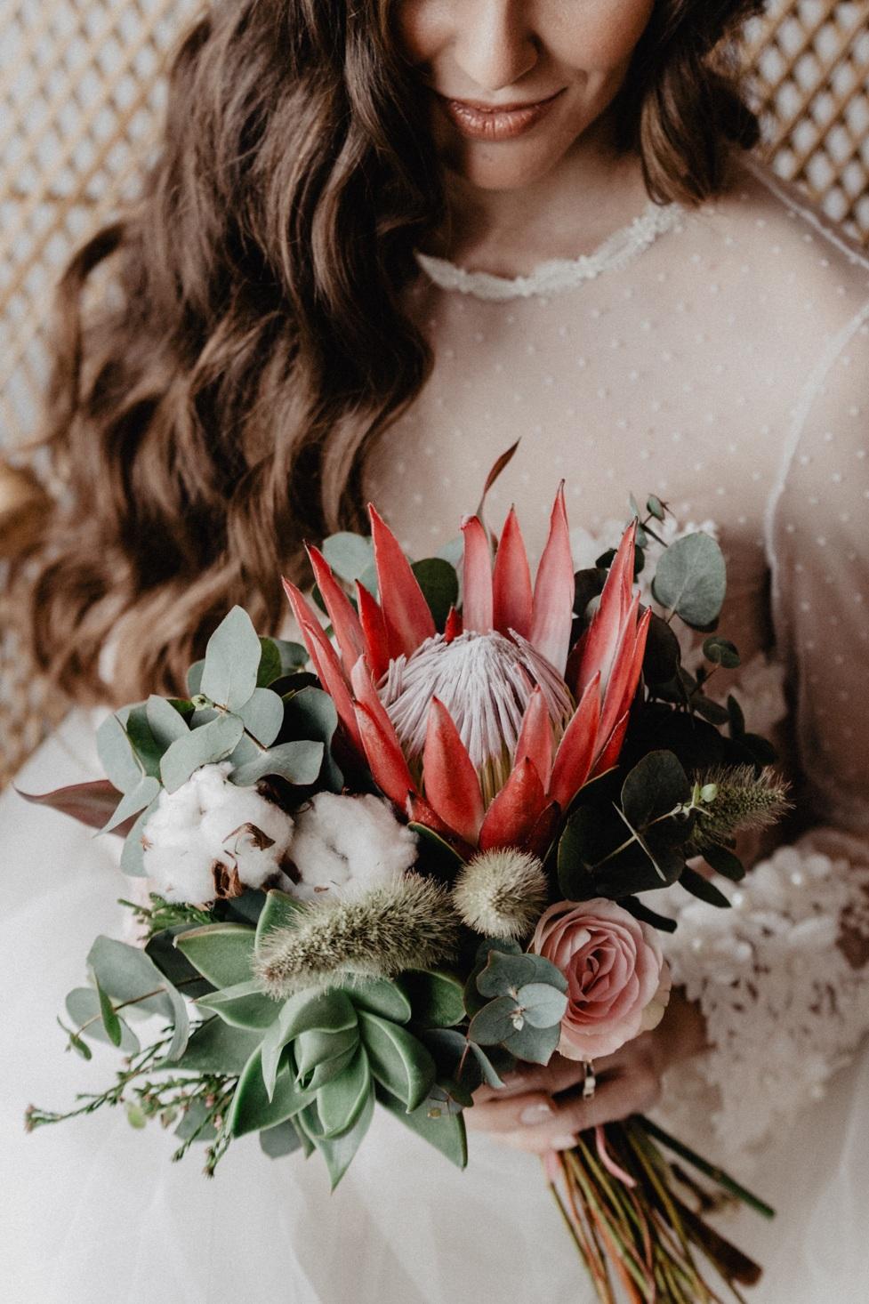Ramo original con Protea, algodón y crasas