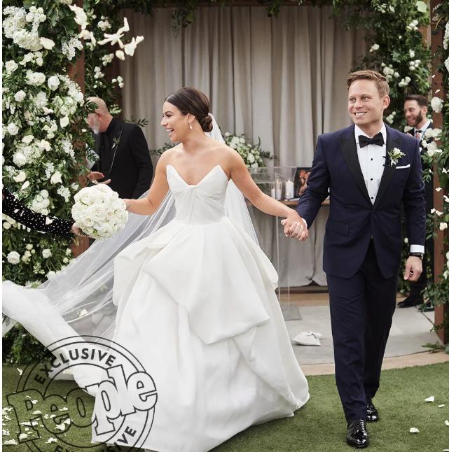 People: Lea Michele Marries Zandy Reich in Monique Lhuillier and Neil Lane Earrings • March 13, 2019