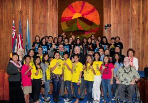 On April 15th, students and teachers from Baldwin High School, King Kekaulike High School, Maui High School, and Maui Waena Intermediate School gathered for the Maui County Council's proclamation of Hawaii STEM Education Week.