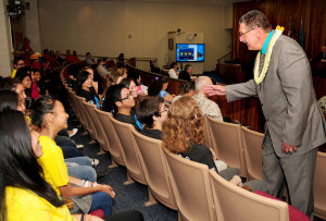 """Council member Mike Victorino encouraged students attending the """"Hawaii STEM Education Week"""" proclamation ceremony to keep pursuing their dreams for higher education."""