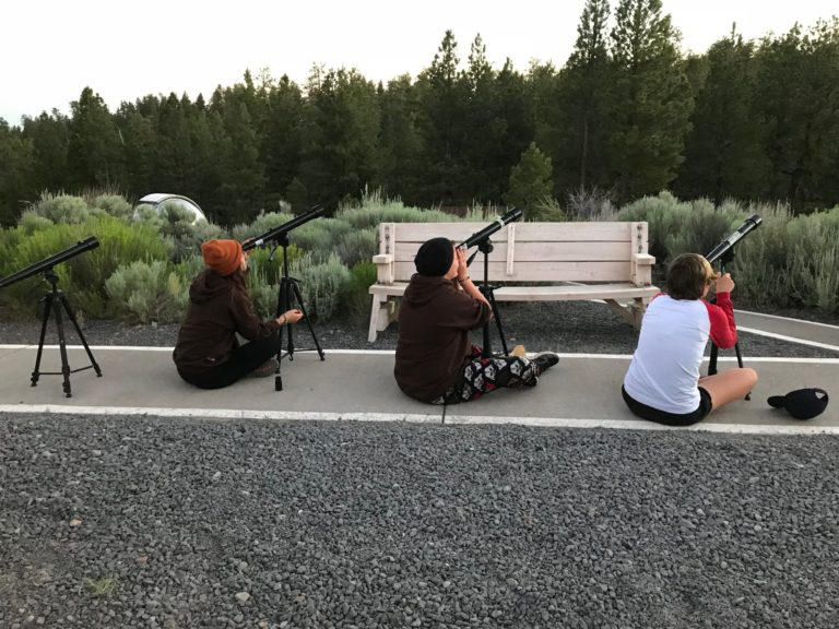 Girl Scouts look at Venus with Galileoscopes. Credit: SETI Institute