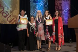 Iolani Kuoha of Molokaʻi Middle Hawaiian Immersion School (pictured on far left), Emily Haines Swatek of King Kekaulike High School (pictured second from right), and Cindel Jacintho of Lānaʻi Elementary & High (not pictured) were named recipients of the inaugural Czechowicz Award.